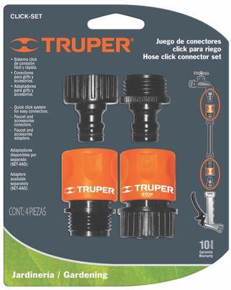 Imagen de JUEGO DE 2 CONECTORES RAPIDOS ENTRADA 3/4 PULG TRUPER CLICK-SET