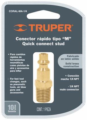 Imagen de CONECTOR RAPIDO TIPO M NIQUELADO CUERDA 1/4 NPT MACHO TRUPER CORAL-MA-1/4