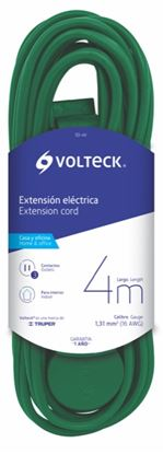 Imagen de EXTENSION ELECTRICA DOMESTICA 4 M VERDE  VOLTECH ED-4V