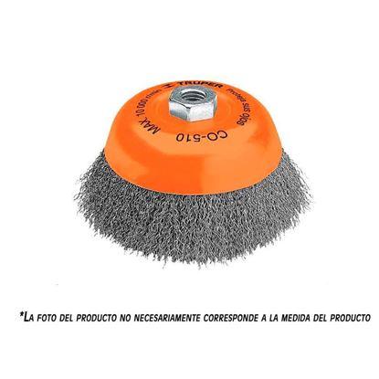 Imagen de CARDA DE COPA ALAMBRE ONDULADO 3 PULGMILIMETRICA PARA ESMERIL TRUPER CO-508M