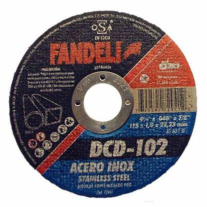 """Imagen de DISCO CORTE DELGADO INOX 4 1/2"""" 115  X 1.0 X 22.2  FANDELI 72941"""