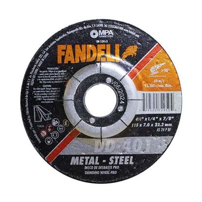 "Imagen de DISCO DE DESBASTE METAL 4 1/2"" 115 X 7.0 X 22.2 FANDELI 72950"